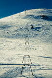 Old ski lift. Skilift on skislope in wintertime Stock Photography