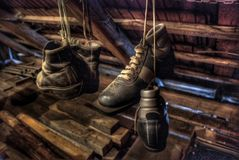 Old ski shoes. Hanging in cottage attic Royalty Free Stock Images