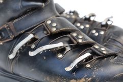 Old ski shoes Stock Image