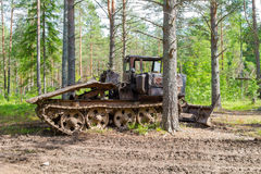 Old skidder at the forest Stock Photos