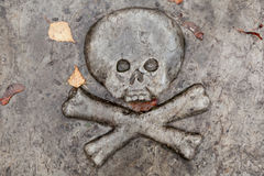 Bas-relief, skull on a gravestone Royalty Free Stock Images