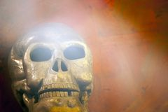 Old skull natural smoke stone background Royalty Free Stock Photo