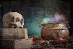 Old skull on old book and copper cauldron Royalty Free Stock Image