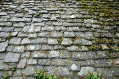 Old slate roof in Trebeurden in Bretagne Stock Photos