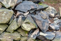 Old Slate Stone Wall Royalty Free Stock Photo