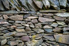 Old Slate Stone Wall stock photography