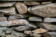 Old Slate Stone Wall stock photos