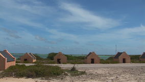 Old slave huts on Bonaire, The Netherlands stock footage