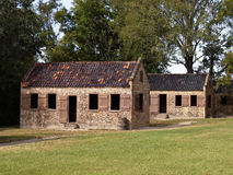 Old slavery cabins. Exterior of old slavery cabins on Boone Hall Plantation and Gardens, Mount Pleasant, South Carolina, U.S.A Stock Photos