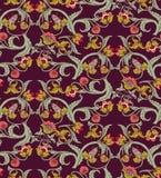Old Slavic vintage ornament flowers dark seamless pattern. Color vector illustration. EPS8 Royalty Free Stock Images