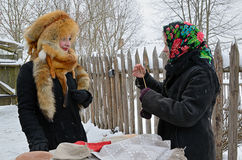 Old Slavonic divinations. Minsk, Belarus - January 18, 2014: Traditional divination during the Old Slavonic holiday Kalyada in Strochitsy in Belarusian State Stock Photography
