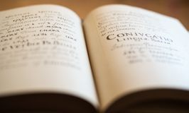 The Old Slavonic Grammar. Open book. Close up Stock Image
