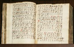 Old slavonic manuscript with n royalty free stock photography
