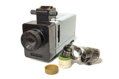 Old slide projector with film Royalty Free Stock Photos