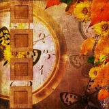 Old slides on autumn background. Old slides on the autumn background with watch, flowers, butterfly Royalty Free Stock Photo
