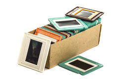 Old slides in a cardboard box Royalty Free Stock Images