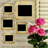 Old slides for photo with bouquet roses Royalty Free Stock Images