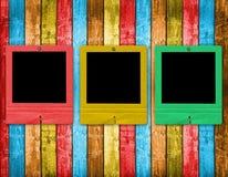 Old slides on the wooden background. Old slides on the abstract wooden background Royalty Free Stock Photography