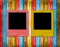 Old slides on the wooden background Royalty Free Stock Images