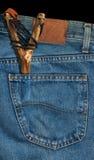 Old Slingshot in Denim Pocket Royalty Free Stock Image