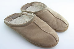 Old slippers. On white background royalty free stock images