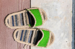 Old slippers. Is beautiful, simple, light. For good health Royalty Free Stock Photo