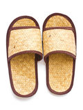 Old Slippers made of woven pandanus. Stock Photos