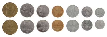 Old Slovak Coins Isolated on White Stock Image