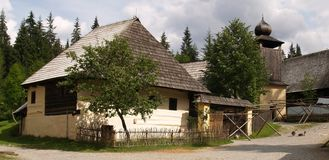 Old Slovakian architecture. House and wooden buildings demonstrating old traditional Slovakian architecture Royalty Free Stock Image
