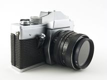 An old slr. Against white background stock photography