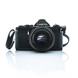 Old SLR Black Camera on White Background Royalty Free Stock Photo