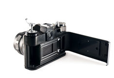 Old slr camera with opened back cover Royalty Free Stock Photos