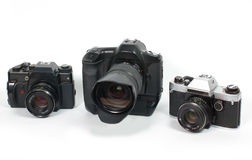 Old SLR cameras Royalty Free Stock Image