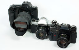 Old SLR cameras Stock Photos