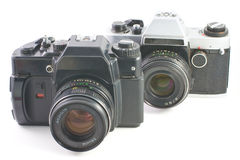 Old SLR cameras Royalty Free Stock Photo