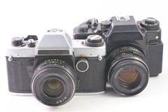Old SLR cameras Stock Photography
