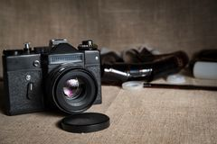Free Old SLR Film Camera Lies With Film Royalty Free Stock Image - 106292016