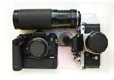 Old slr film cameras. Royalty Free Stock Photos