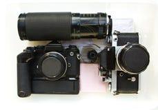 Old slr film cameras. Royalty Free Stock Photos