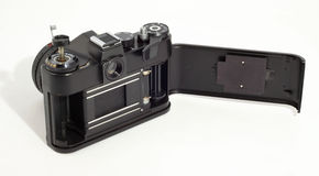 Old SLR photo camera. Opened body Royalty Free Stock Photo