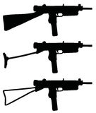 Old small automatic guns. Three old black small automatic guns silhouettes, hand drawn vector illustration Stock Illustration