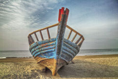 An old small boat at seaside. Photoed in Beidaihe of China Royalty Free Stock Photos