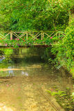 Old small bridge over river in green garden. Stock Image