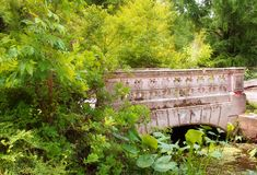 Old small bridge surrounded by vegetation. Peaceful scene Royalty Free Stock Photos