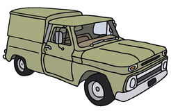 Old small delivery car. Old small delivery vehicle, vector illustration, hand drawing Vector Illustration