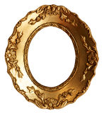 Old Small Gold Wood Mirror Frame with Ornaments Stock Images