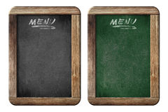 Old small menu blackboards or chalkboards with clipping path. Old small menu blackboards or chalkboards isolated with clipping path included royalty free stock image