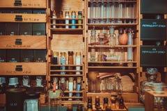 Old small mini labolatory Stock Photo