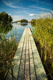Old small pier at the lake Galve in Trakai Stock Image