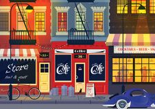 Old city street, night landscape. Old small street of New York. People have fun in bar. Vector illustration vector illustration